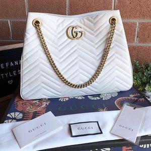Gucci Bags - Gucci Marmont Matellase Chevron Leather Chain Tote
